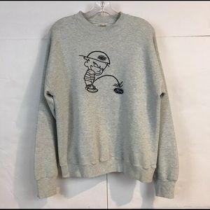 Vtg Calvin Peeing on Ford Sweatshirt Mens L Gray
